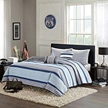 Blue-White-Gray-Nautical-Stripe-Boys-Full-Queen-Quilt The Best Nautical Quilts and Nautical Bedding Sets