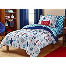 Keeco-Kids-Pirate-Nautical-Skull-Sea-Themed-Bedding-Set-WhiteRedBlue-Twin The Best Nautical Quilts and Nautical Bedding Sets