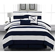 Legacy-Decor-7pc.-Microfiber-Nautical-Themed-Comforter-set-Navy-Blue-and-White-Striped The Best Nautical Quilts and Nautical Bedding Sets