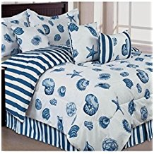 Seashells-Beach-Themed-Nautical-Queen-Comforter-Set-Toss-Pillows The Best Nautical Quilts and Nautical Bedding Sets