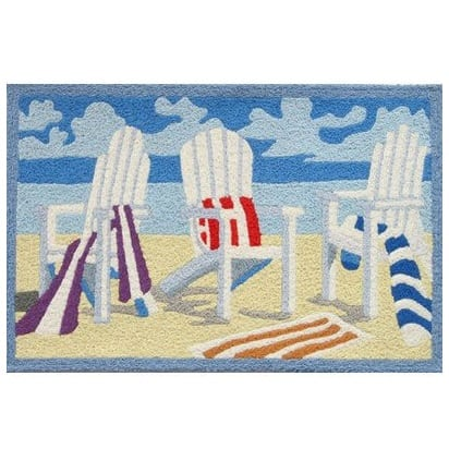 beach-towel-adirondack-chair-accent-jellybean-rug Beach Themed Jellybean Area Rugs