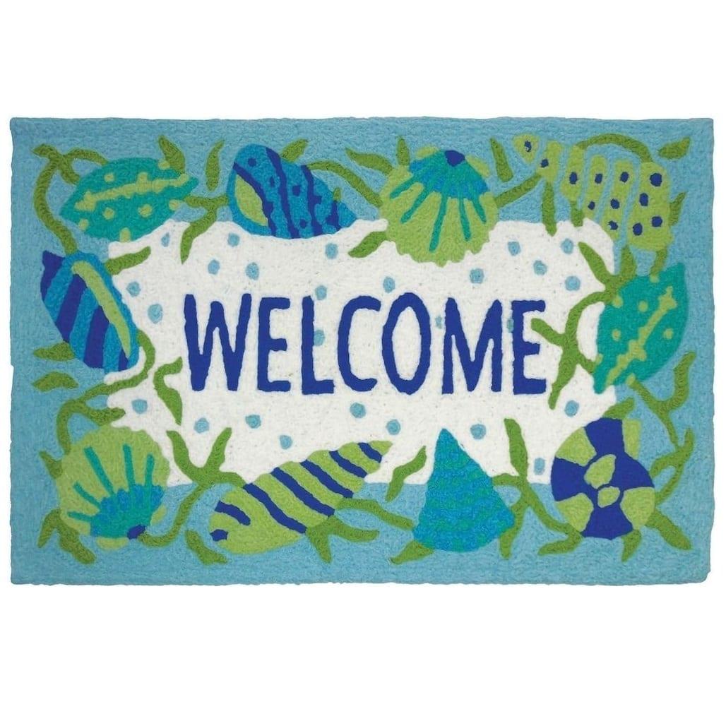seashell-welcome-jellybean-coastal-rug Beach Themed Jellybean Area Rugs