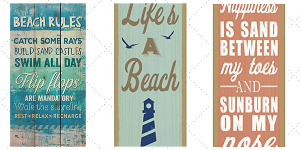 wood beach accent signs