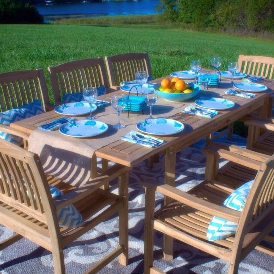 9 Piece Outdoor Teak Patio Dining Set Best Teak Patio