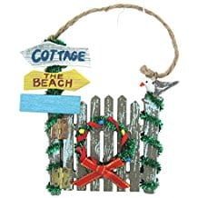 Beach-Themed-Christmas-Gate-Ornament-with-Wreath-and-Seagull Nautical and Beach Christmas Ornaments