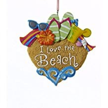 I-Love-the-Beach-Sandals-Sunglasses-Shells-Christmas-Ornament Nautical and Beach Christmas Ornaments