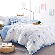 ocean-blue-conch-starfish-duvet-cover Best Starfish Bedding and Quilt Sets