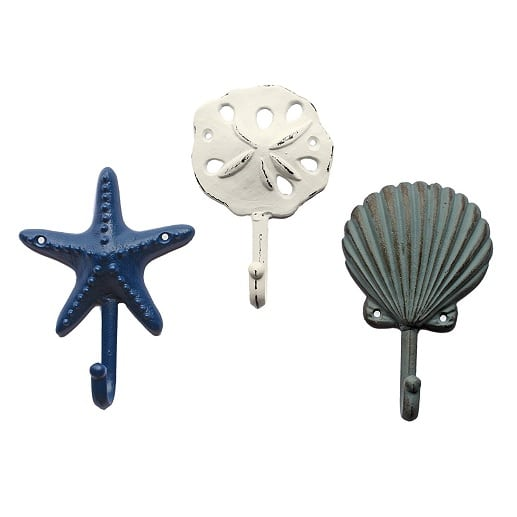 scallop-sand-dollar-sea-star-dollar-wall-hook Beach Wall Hooks and Beach Towel Hooks
