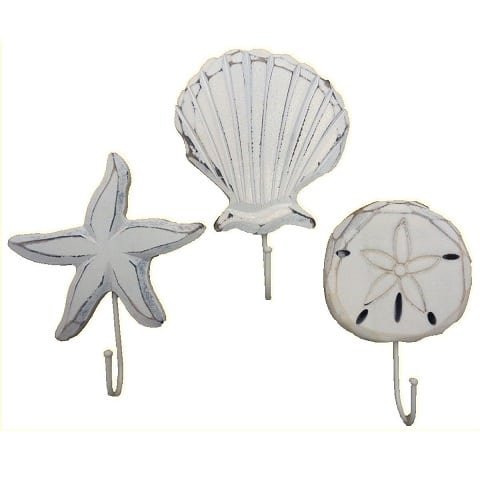 scallop-sand-dollar-seashell-wall-hooks Beach Wall Hooks and Beach Towel Hooks
