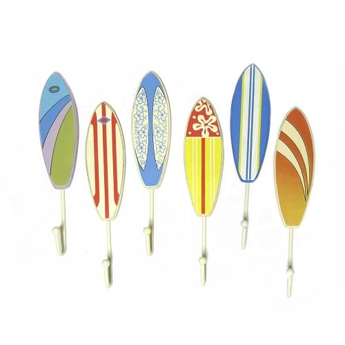 surfboard-towel-hooks Beach Wall Hooks and Beach Towel Hooks