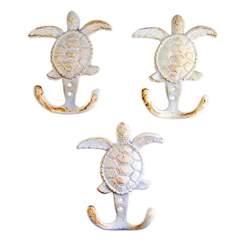 turtle-hook-set-of-3 Beach Wall Hooks and Beach Towel Hooks