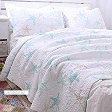 white-ocean-theme-starfish-summer-quilt Best Starfish Bedding and Quilt Sets