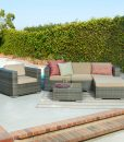 Azaleh 4PC Outdoor Wicker Sectional Sofa