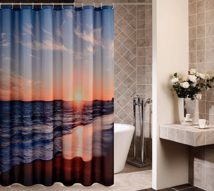1-Goodbath-Ocean-Beach-Shower-Curtain Nautical and Beach Themed Shower Curtains