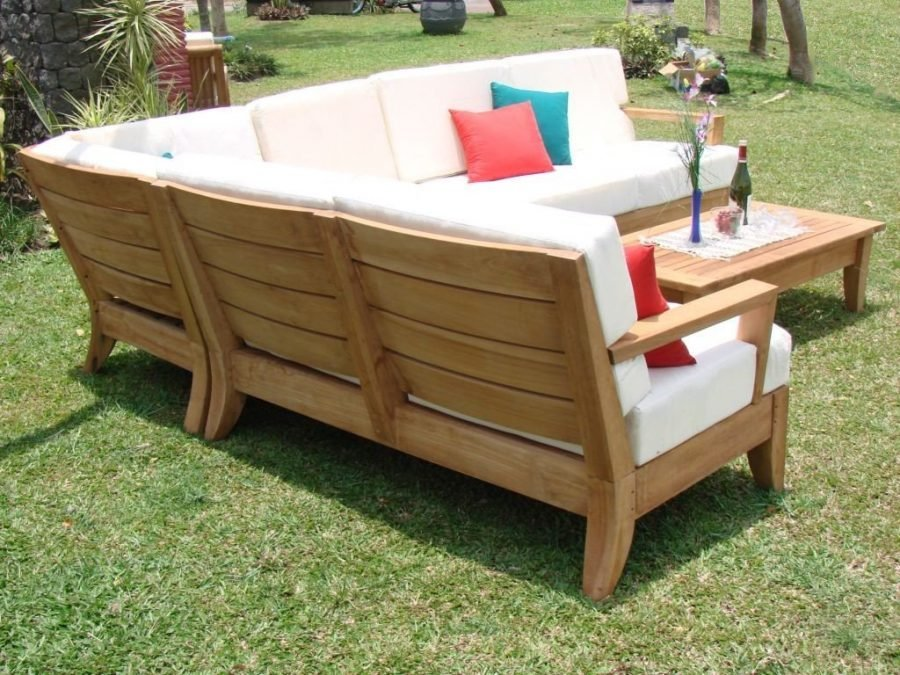 Atnas grade a teak outdoor sectional sofa set for Backyard pool furniture