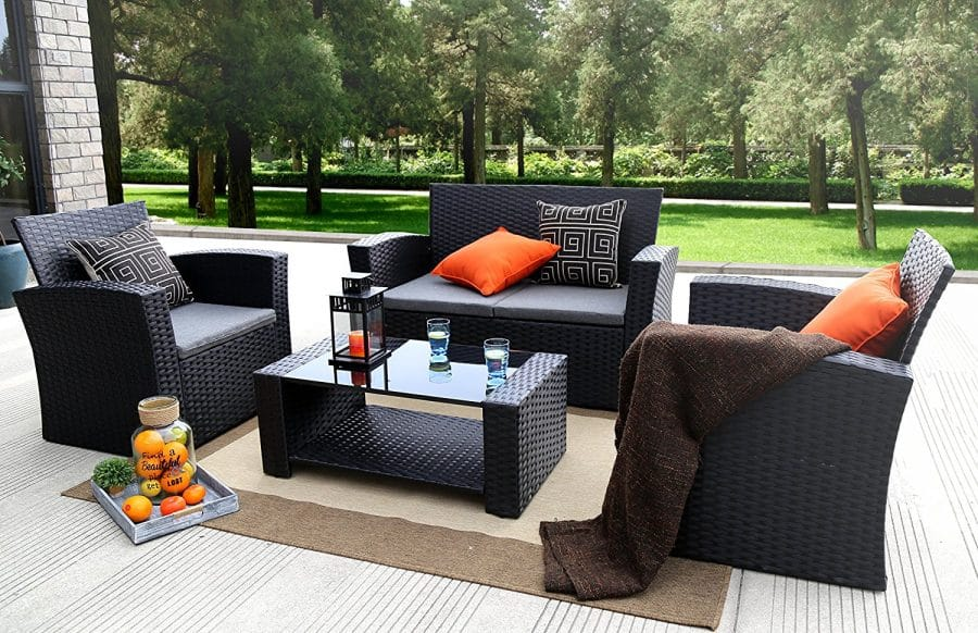 Baner garden 4 pc outdoor wicker cushion seating set for Outdoor patio furniture sets