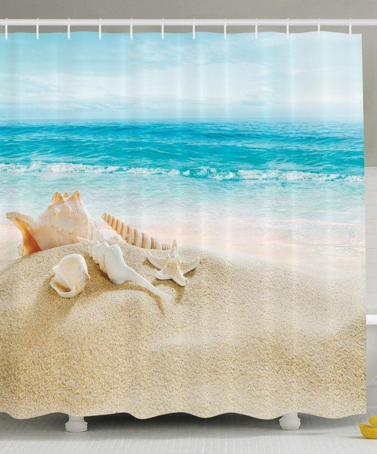 10-Conch-And-Seashell-Beach-Shower-Curtain Nautical and Beach Themed Shower Curtains