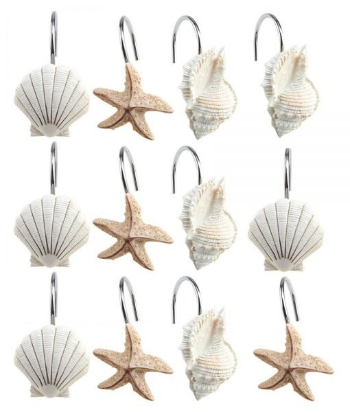 11-Resin-Scallop-Starfish-Conch-Shower-Curtain-Hooks