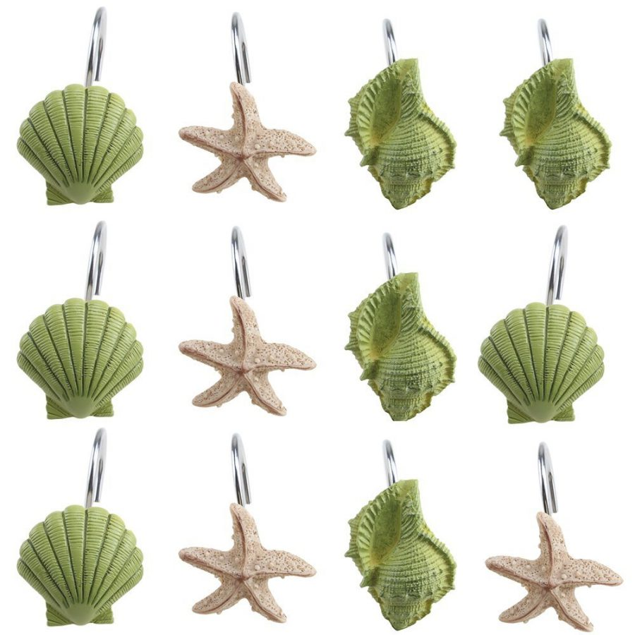 Green And Sand Seashell Shower Curtain Hooks