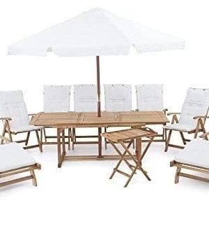 beliani riviera deluxe outdoor teak dining set