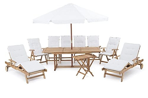 beliani riviera deluxe outdoor teak dining set
