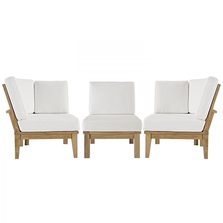 Modern Contemporary 3 PC Outdoor Teak Sofa Set