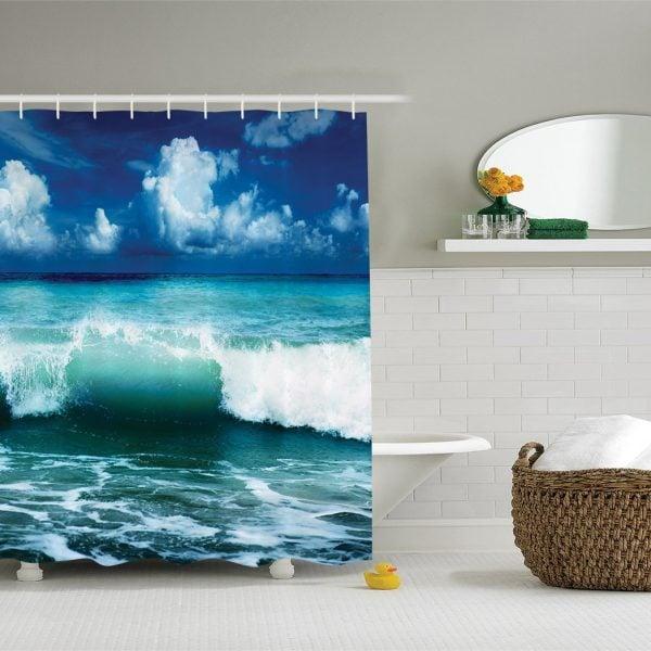Crashing Waves Beach Themed Shower Curtain
