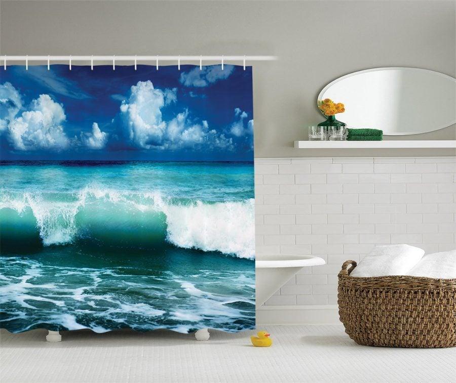 15-Crashing-Waves-Beach-Themed-Shower-Curtain Nautical and Beach Themed Shower Curtains