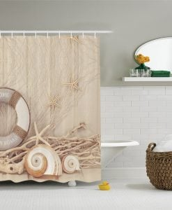 Life Preserver Spiral Shell Shower Curtain