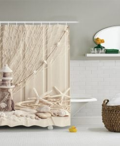 Lighthouse and Seashell Shower Curtain