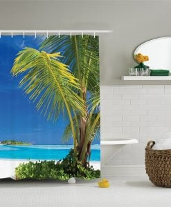 Green Tropical Palm Leaves Shower Curtain
