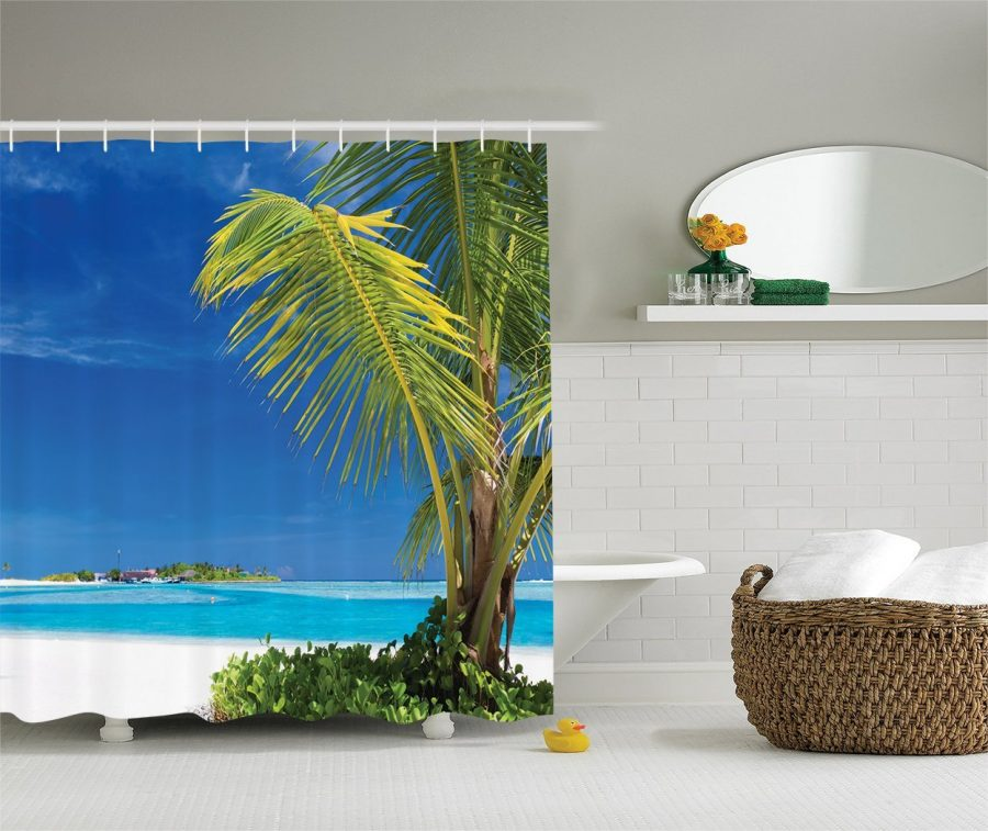 19-Green-Tropical-Palm-Leaves-Shower-Curtain Nautical and Beach Themed Shower Curtains