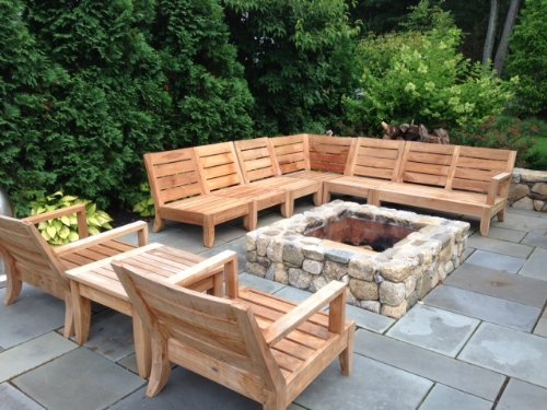 Teak patio sectional modern patio outdoor for Teak outdoor furniture