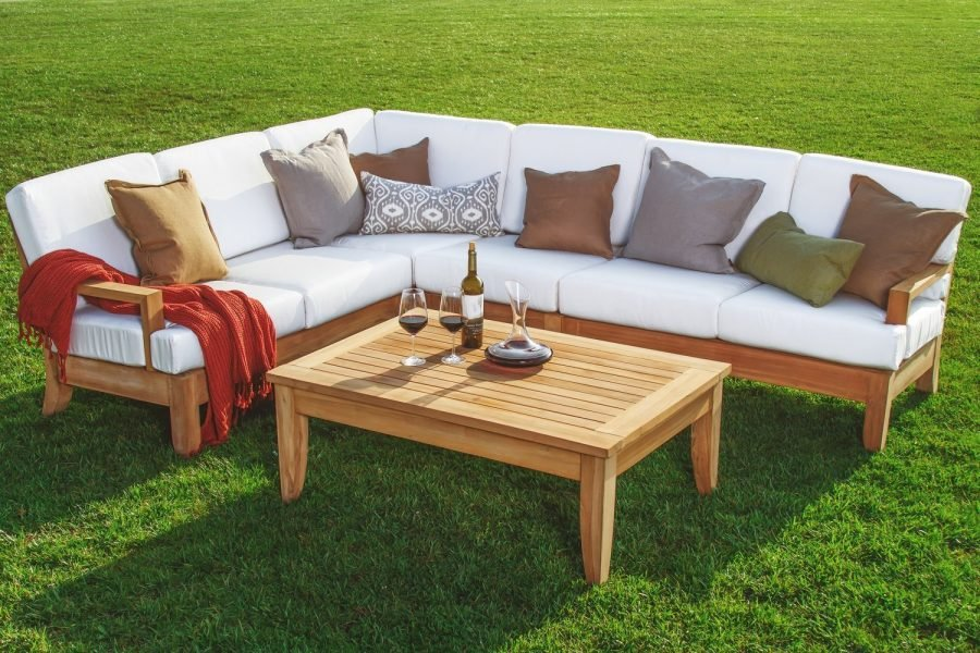 Teak outdoor sofa manhattan a grade teak outdoor sofa for Teak wood patio furniture