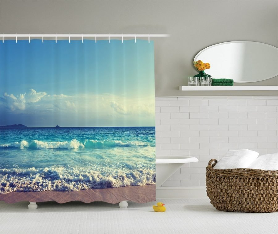 2-Ambesonne-Bright-Ocean-Day-Shower-Curtain Nautical and Beach Themed Shower Curtains