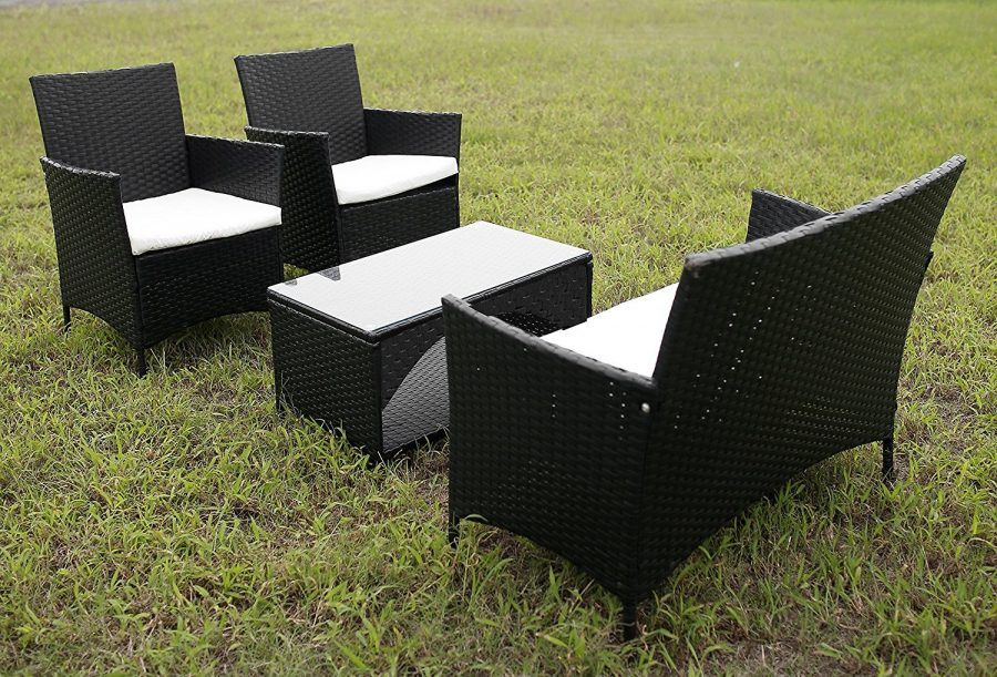 - Merax 4-PC Outdoor PE Rattan Wicker Sofa Set
