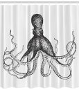 Octopus Beach Theme Shower Curtain