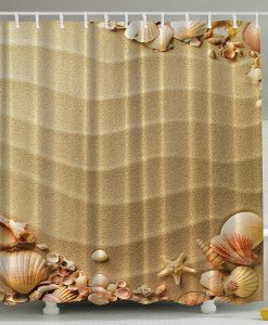 Sandy Beach with Seashells Shower Curtain