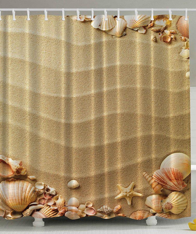21-Sandy-Beach-With-Seashells-Shower-Curtain Nautical and Beach Themed Shower Curtains