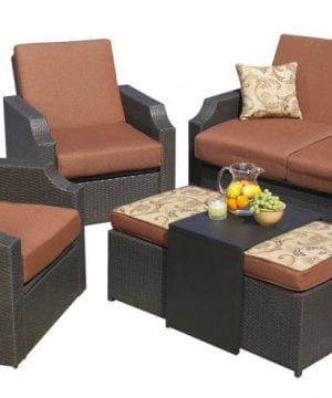 Sedona Wicker Sunbrella 5-PC Patio Set