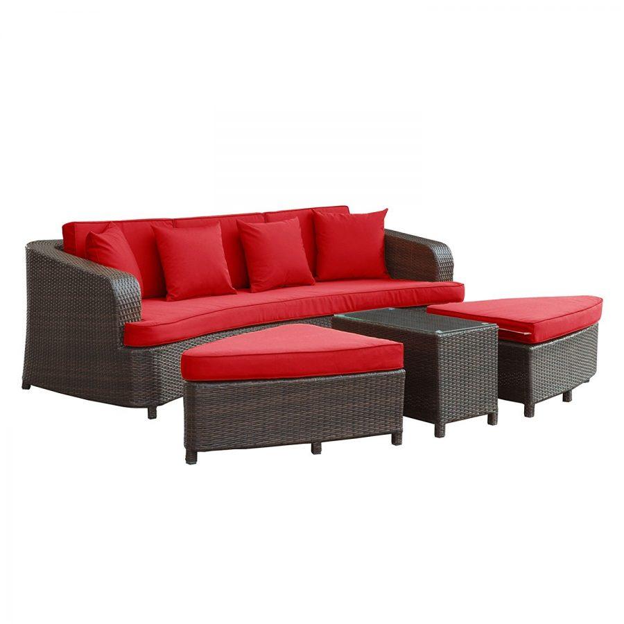 Modern Red Outdoor Wicker Sofa Set