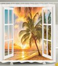 Sunrise Palm Tree Shower Curtain