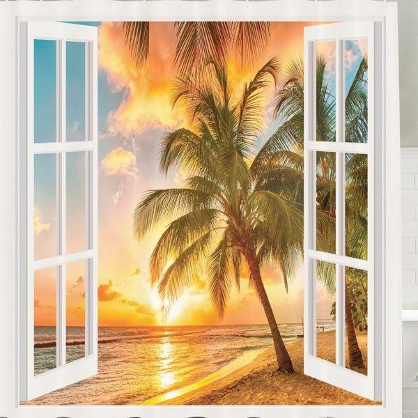 Sunrise Palm Tree Shower Curtain