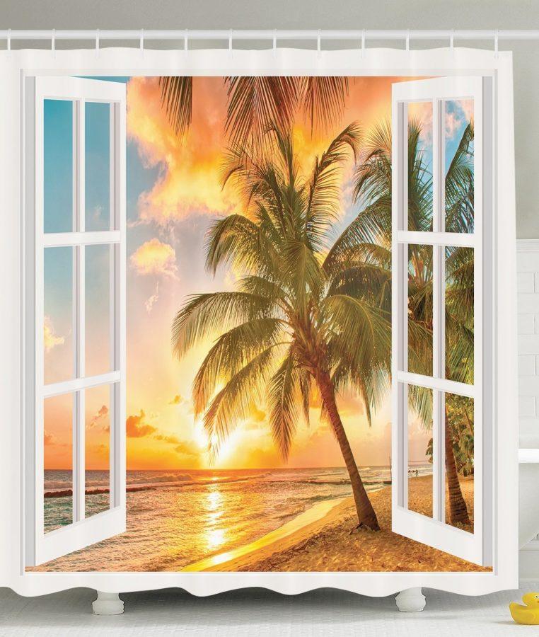 23-Sunrise-Palm-Tree-Shower-Curtain Nautical and Beach Themed Shower Curtains
