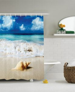 24-Conch-Shell-In-Sand-Shower-Curtain-247x300 The Best Beach Shower Curtains You Can Buy