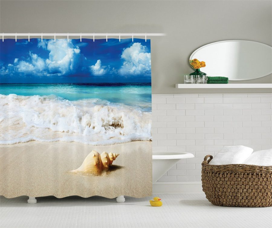 24-Conch-Shell-In-Sand-Shower-Curtain Nautical and Beach Themed Shower Curtains