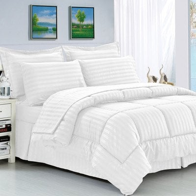 Elegant comfort white reversible comforter set for Elegant white comforter sets