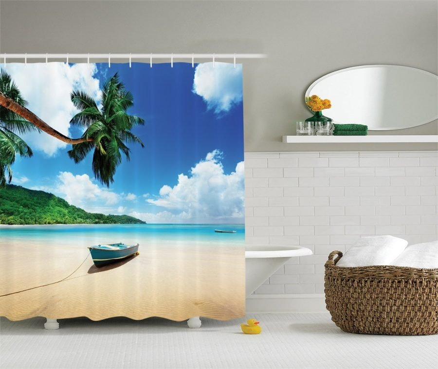 26-Boat-On-The-Beach-Shower-Curtain Nautical and Beach Themed Shower Curtains