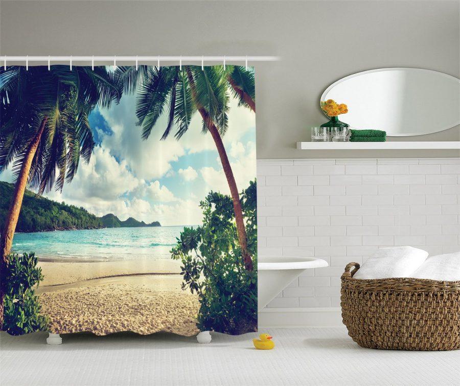 27-Palm-Tree-Hallway-Shower-Curtain Nautical and Beach Themed Shower Curtains