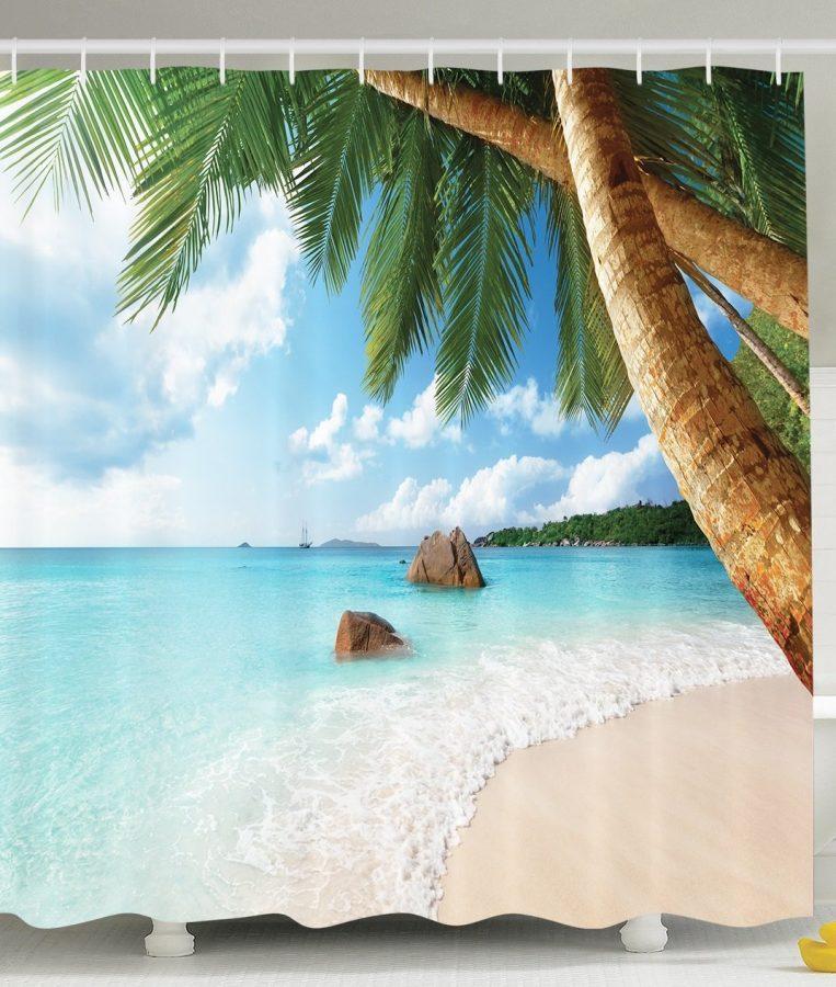28-Palm-Tree-Aqua-Water-Shower-Curtain Nautical and Beach Themed Shower Curtains